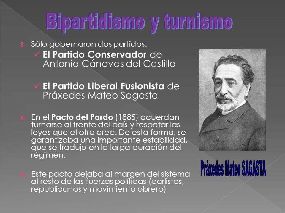 Sólo gobernaron dos partidos: El Partido Conservador de Antonio Cánovas del Castillo El Partido Liberal Fusionista de Práxedes Mateo Sagasta En el Pac