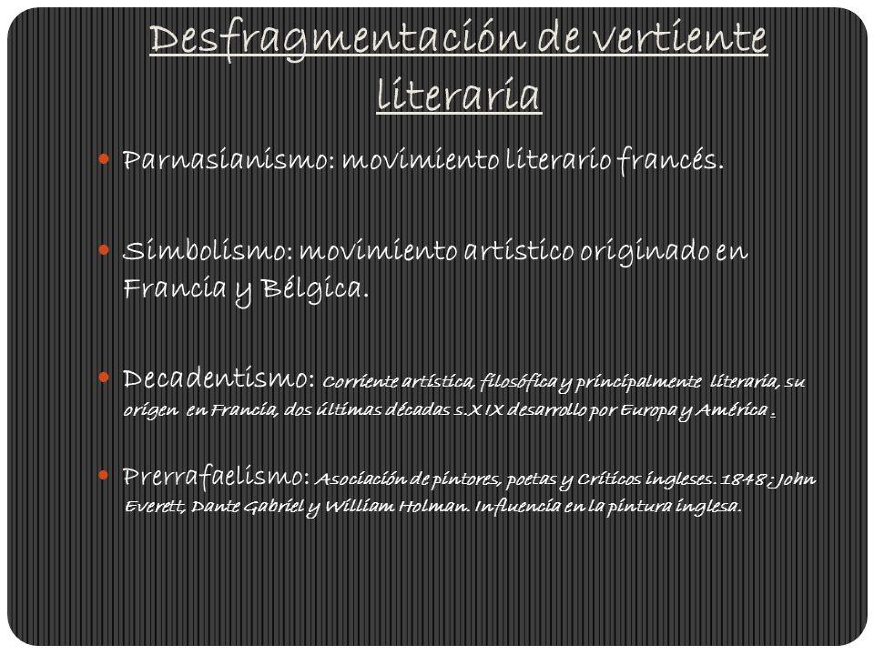 Desfragmentación de vertiente literaria Parnasianismo: movimiento literario francés. Simbolismo: movimiento artístico originado en Francia y Bélgica.
