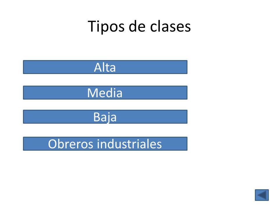 Tipos de clases Media Alta Baja Obreros industriales