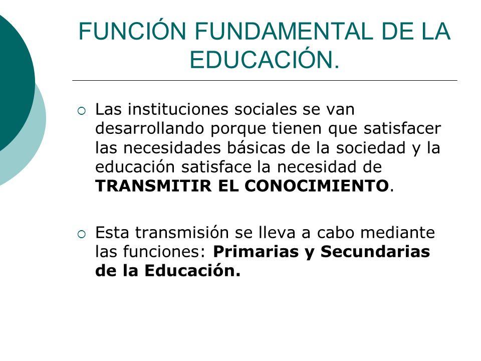 FUNCIÓN FUNDAMENTAL DE LA EDUCACIÓN. Las instituciones sociales se van desarrollando porque tienen que satisfacer las necesidades básicas de la socied