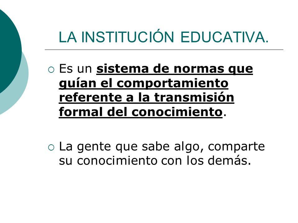 LA INSTITUCIÓN EDUCATIVA. Es un sistema de normas que guían el comportamiento referente a la transmisión formal del conocimiento. La gente que sabe al