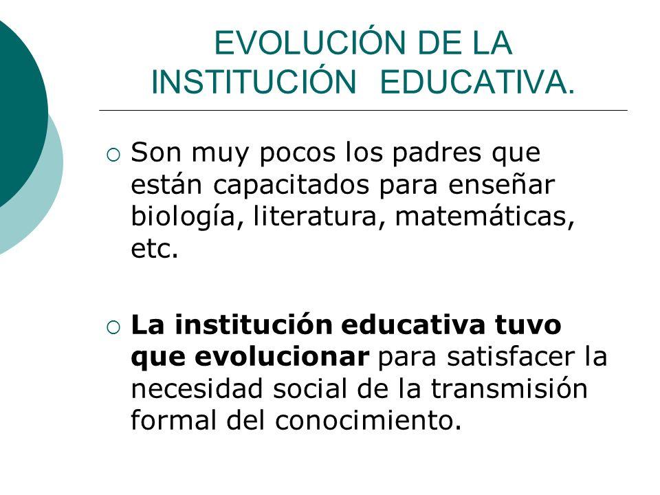 EVOLUCIÓN DE LA INSTITUCIÓN EDUCATIVA. Son muy pocos los padres que están capacitados para enseñar biología, literatura, matemáticas, etc. La instituc