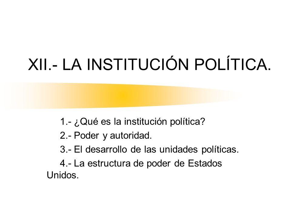 XII.- LA INSTITUCIÓN POLÍTICA. 1.- ¿Qué es la institución política? 2.- Poder y autoridad. 3.- El desarrollo de las unidades políticas. 4.- La estruct