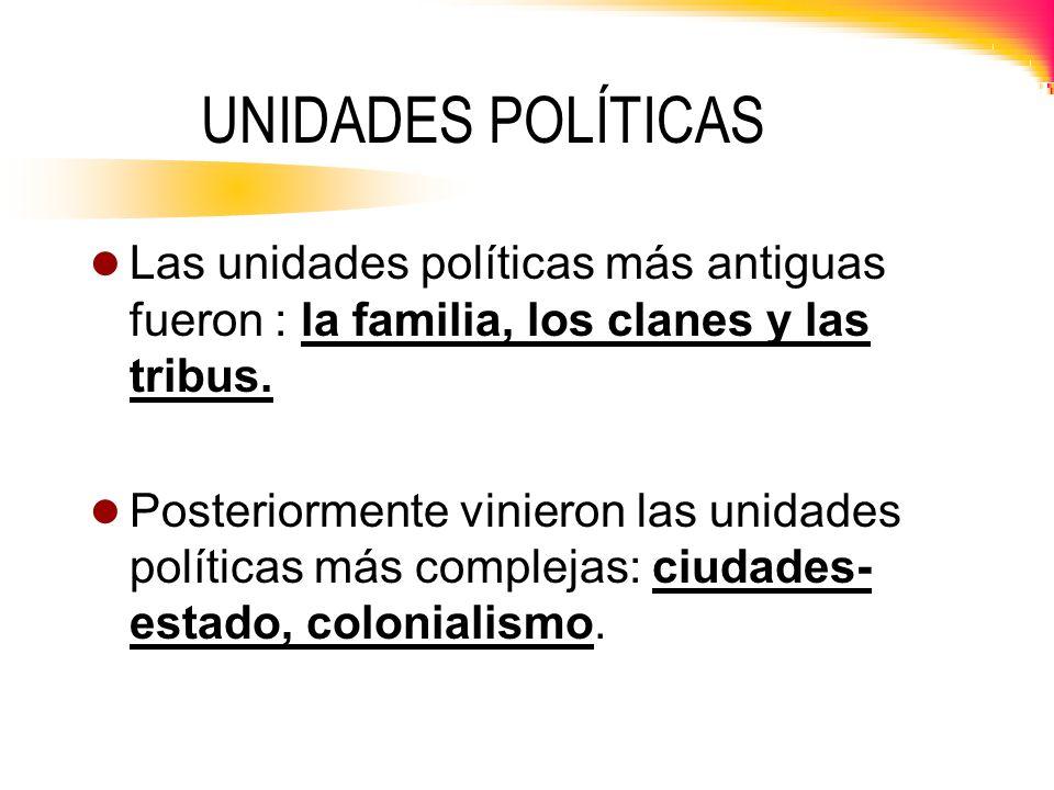 UNIDADES POLÍTICAS Las unidades políticas más antiguas fueron : la familia, los clanes y las tribus. Posteriormente vinieron las unidades políticas má