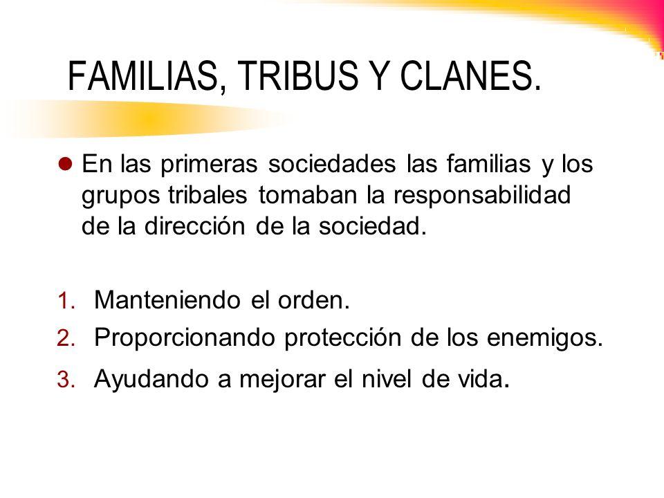FAMILIAS, TRIBUS Y CLANES. En las primeras sociedades las familias y los grupos tribales tomaban la responsabilidad de la dirección de la sociedad. 1.