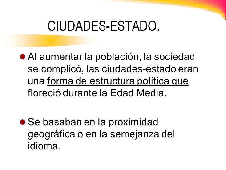 CIUDADES-ESTADO. Al aumentar la población, la sociedad se complicó, las ciudades-estado eran una forma de estructura política que floreció durante la