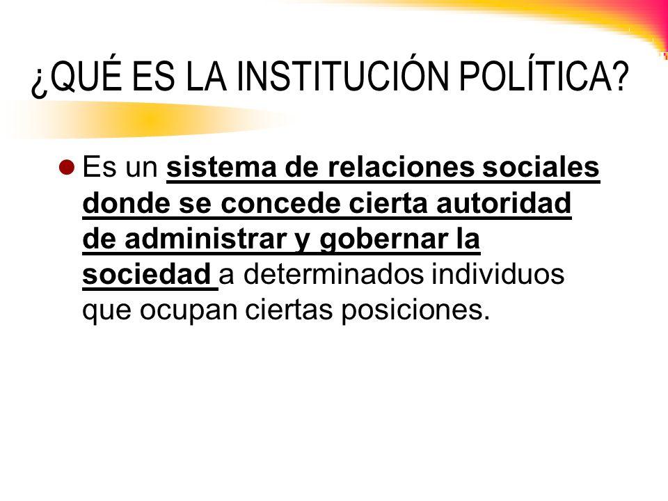 ¿QUÉ ES LA INSTITUCIÓN POLÍTICA? Es un sistema de relaciones sociales donde se concede cierta autoridad de administrar y gobernar la sociedad a determ