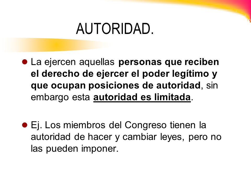 TIPOS DE AUTORIDAD.El poder legítimo o autoridad se puede obtener mediante tres maneras: 1.