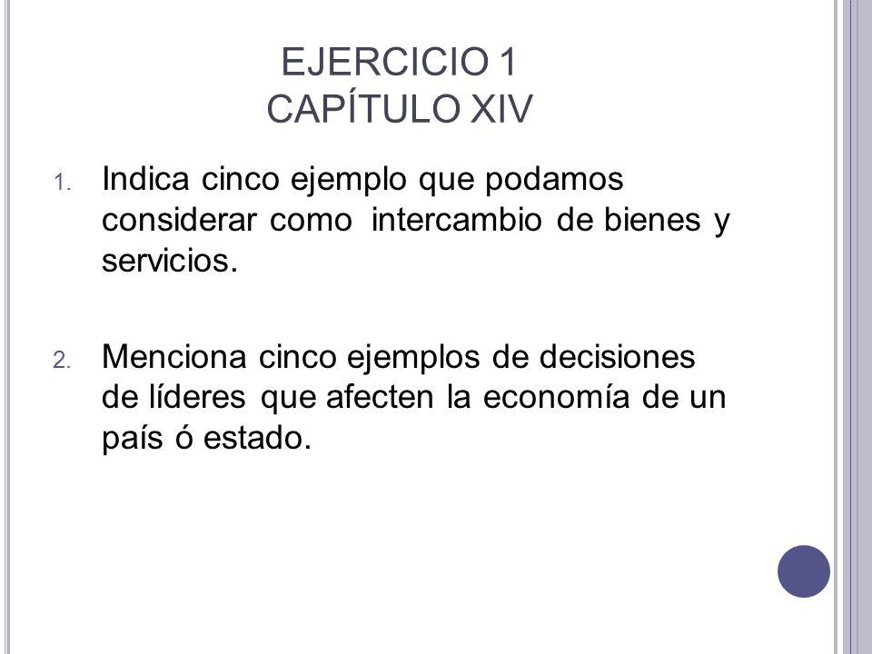 EJERCICIO 1 CAPÍTULO XIV 1. Indica cinco ejemplo que podamos considerar como intercambio de bienes y servicios. 2. Menciona cinco ejemplos de decision