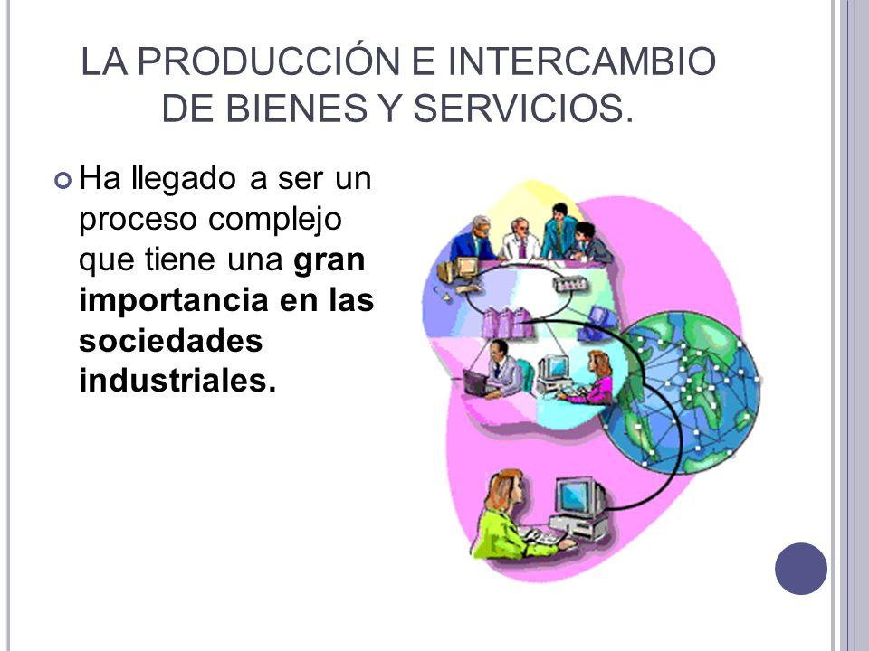 LA PRODUCCIÓN E INTERCAMBIO DE BIENES Y SERVICIOS. Ha llegado a ser un proceso complejo que tiene una gran importancia en las sociedades industriales.