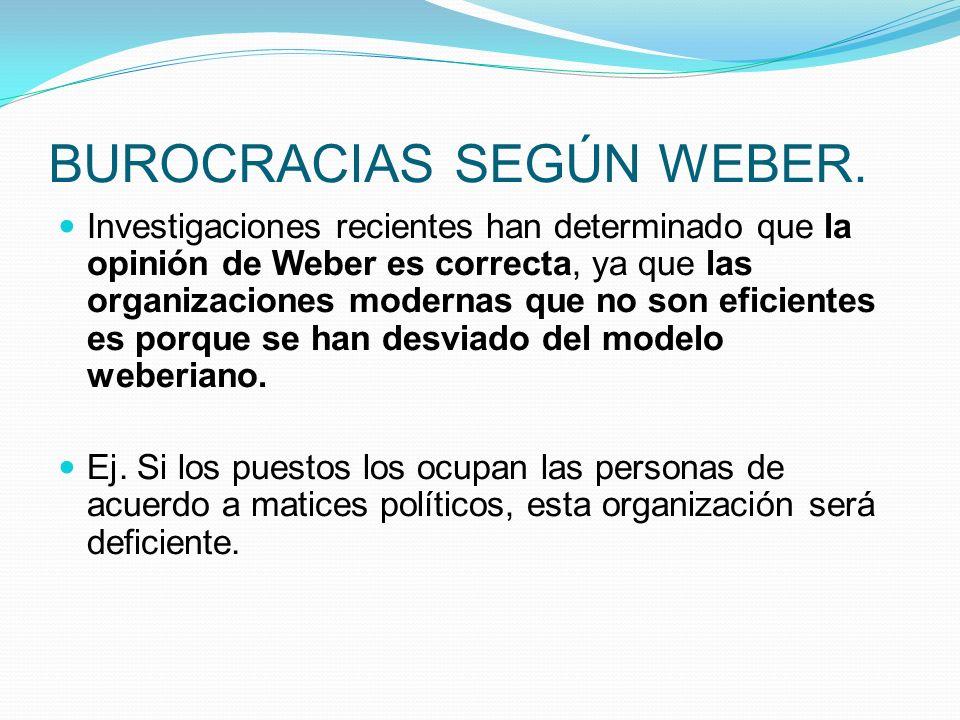 BUROCRACIAS SEGÚN WEBER. Investigaciones recientes han determinado que la opinión de Weber es correcta, ya que las organizaciones modernas que no son