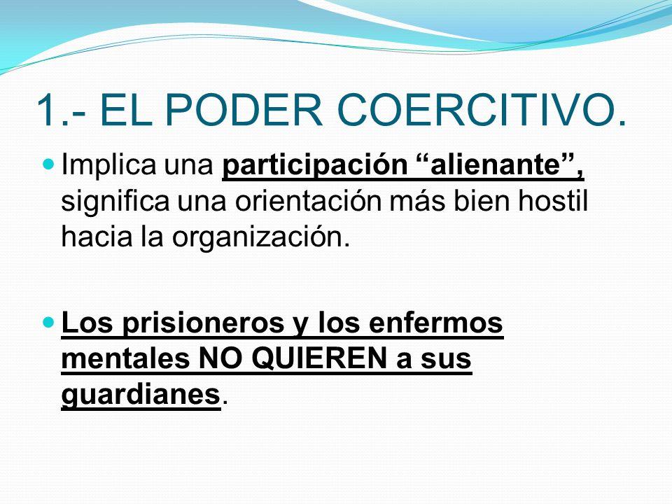 1.- EL PODER COERCITIVO. Implica una participación alienante, significa una orientación más bien hostil hacia la organización. Los prisioneros y los e