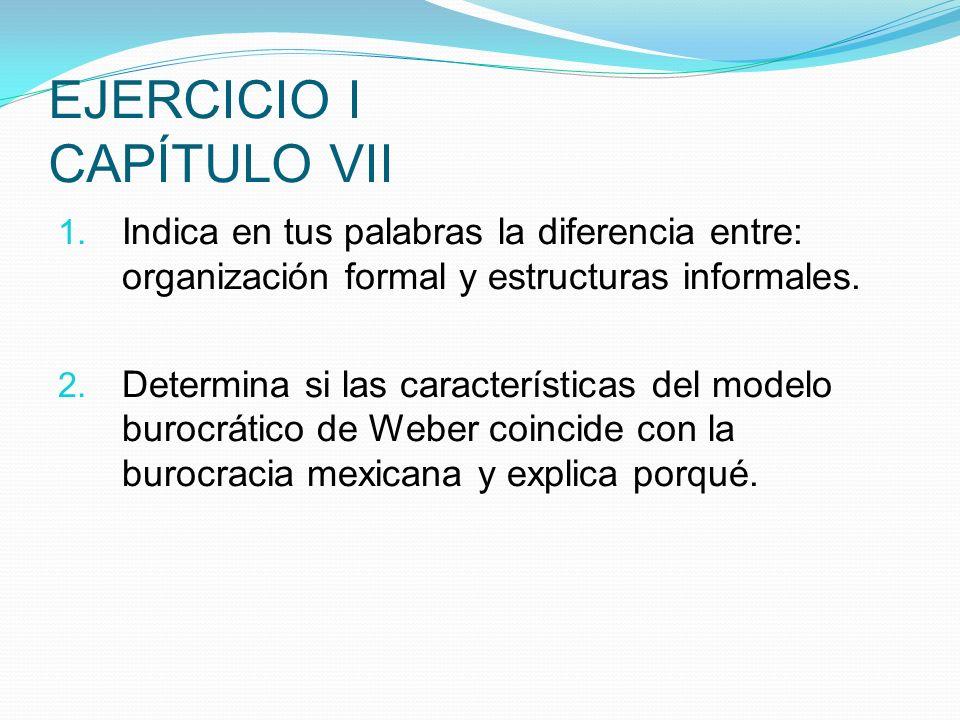 EJERCICIO I CAPÍTULO VII 1. Indica en tus palabras la diferencia entre: organización formal y estructuras informales. 2. Determina si las característi