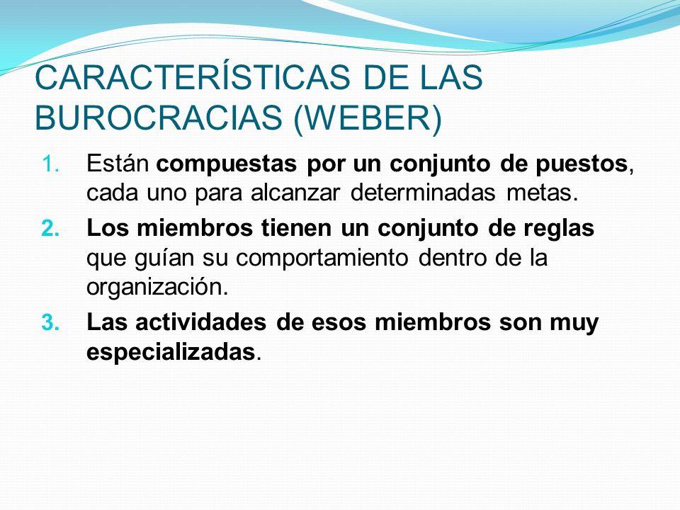 CARACTERÍSTICAS DE LAS BUROCRACIAS (WEBER) 1. Están compuestas por un conjunto de puestos, cada uno para alcanzar determinadas metas. 2. Los miembros