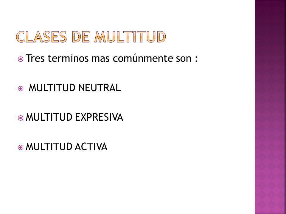 Tres terminos mas comúnmente son : MULTITUD NEUTRAL MULTITUD EXPRESIVA MULTITUD ACTIVA
