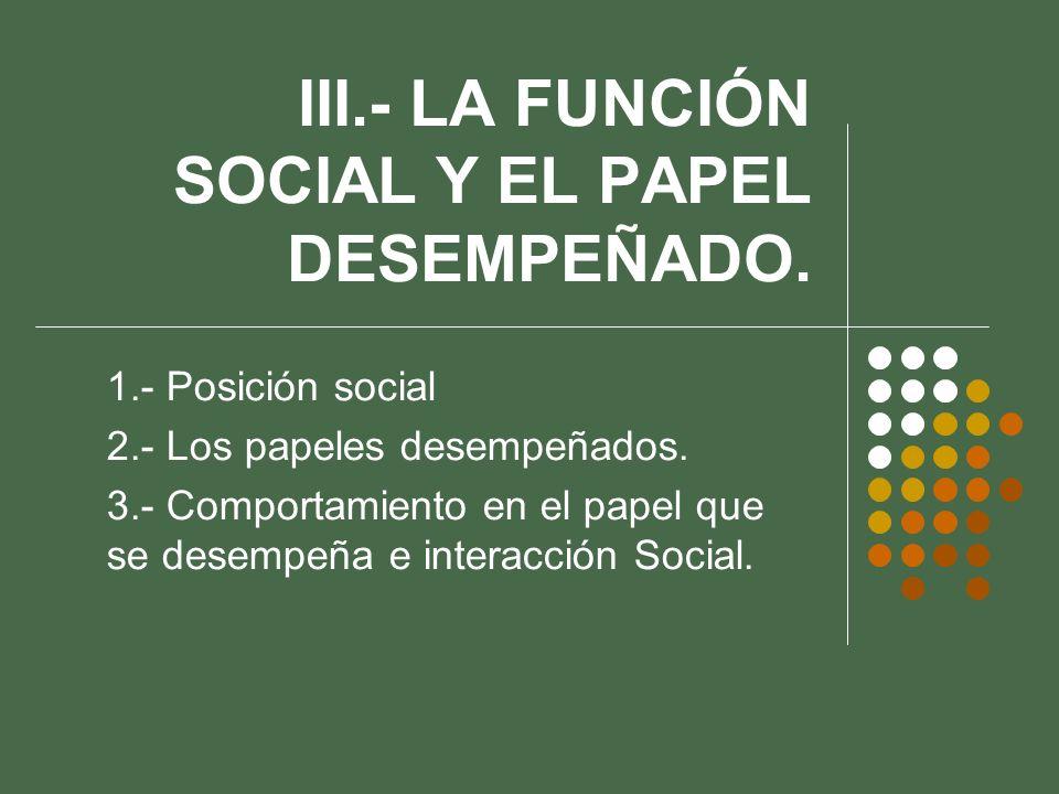 III.- LA FUNCIÓN SOCIAL Y EL PAPEL DESEMPEÑADO. 1.- Posición social 2.- Los papeles desempeñados. 3.- Comportamiento en el papel que se desempeña e in