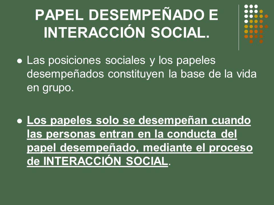 PAPEL DESEMPEÑADO E INTERACCIÓN SOCIAL. Las posiciones sociales y los papeles desempeñados constituyen la base de la vida en grupo. Los papeles solo s