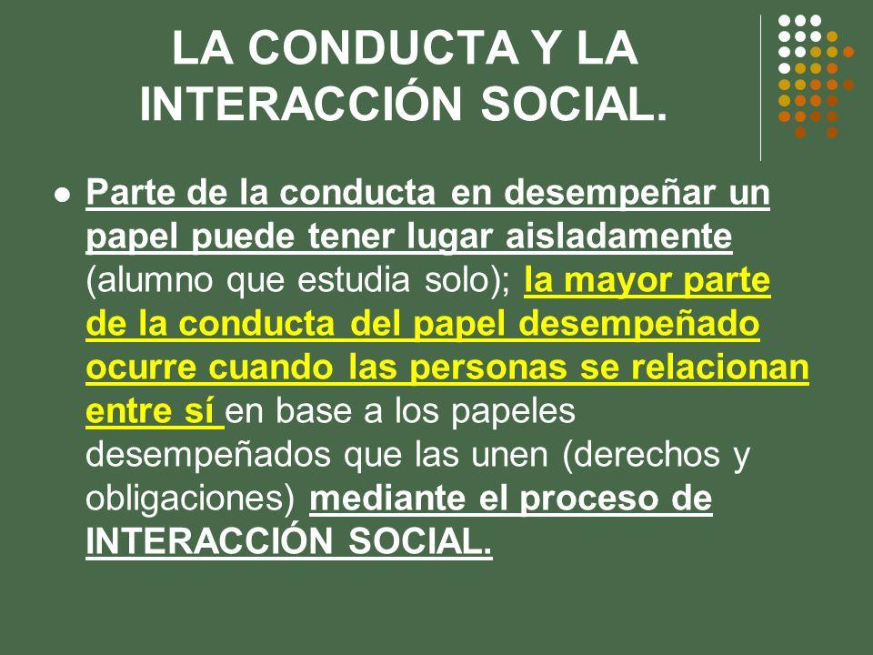 LA CONDUCTA Y LA INTERACCIÓN SOCIAL. Parte de la conducta en desempeñar un papel puede tener lugar aisladamente (alumno que estudia solo); la mayor pa