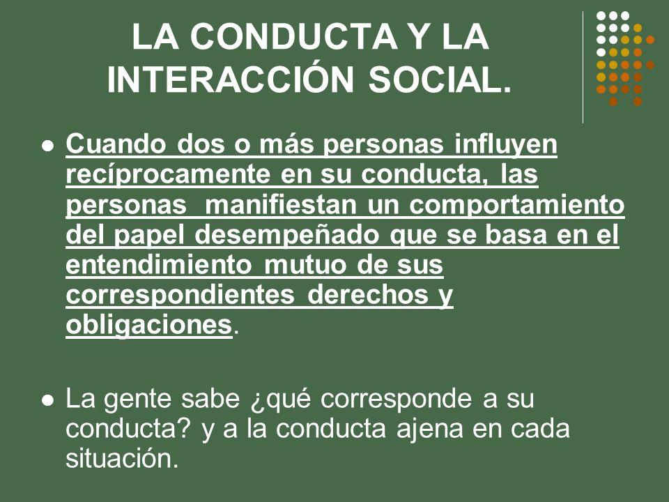LA CONDUCTA Y LA INTERACCIÓN SOCIAL. Cuando dos o más personas influyen recíprocamente en su conducta, las personas manifiestan un comportamiento del