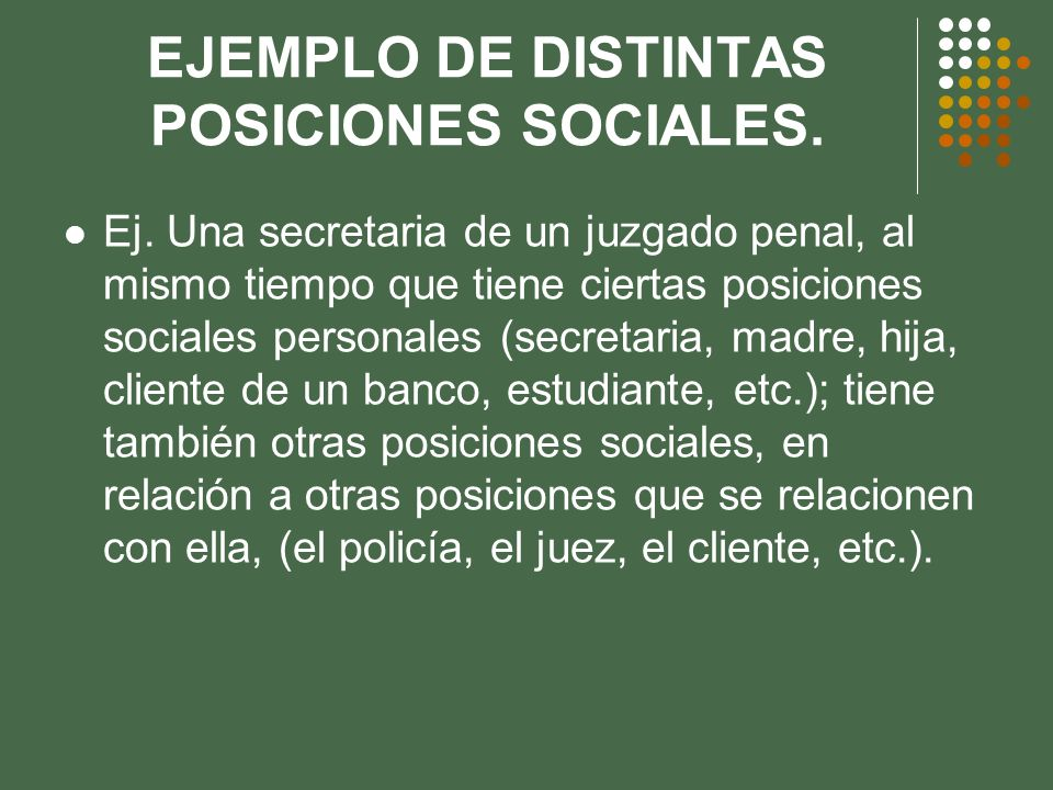 RELACIONES ENTRE UN GRUPO DE POSICIONES SOCIALES.