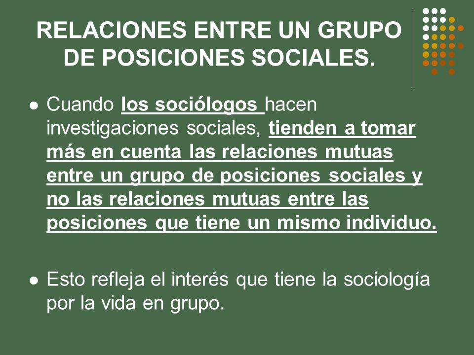 RELACIONES ENTRE UN GRUPO DE POSICIONES SOCIALES. Cuando los sociólogos hacen investigaciones sociales, tienden a tomar más en cuenta las relaciones m