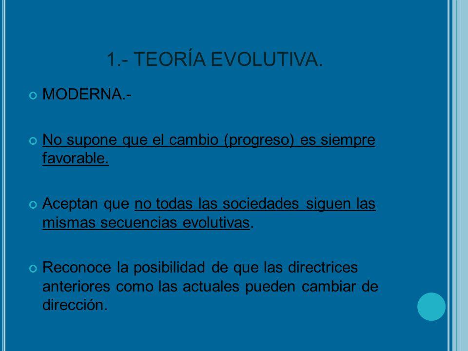 1.- TEORÍA EVOLUTIVA. MODERNA.- No supone que el cambio (progreso) es siempre favorable. Aceptan que no todas las sociedades siguen las mismas secuenc