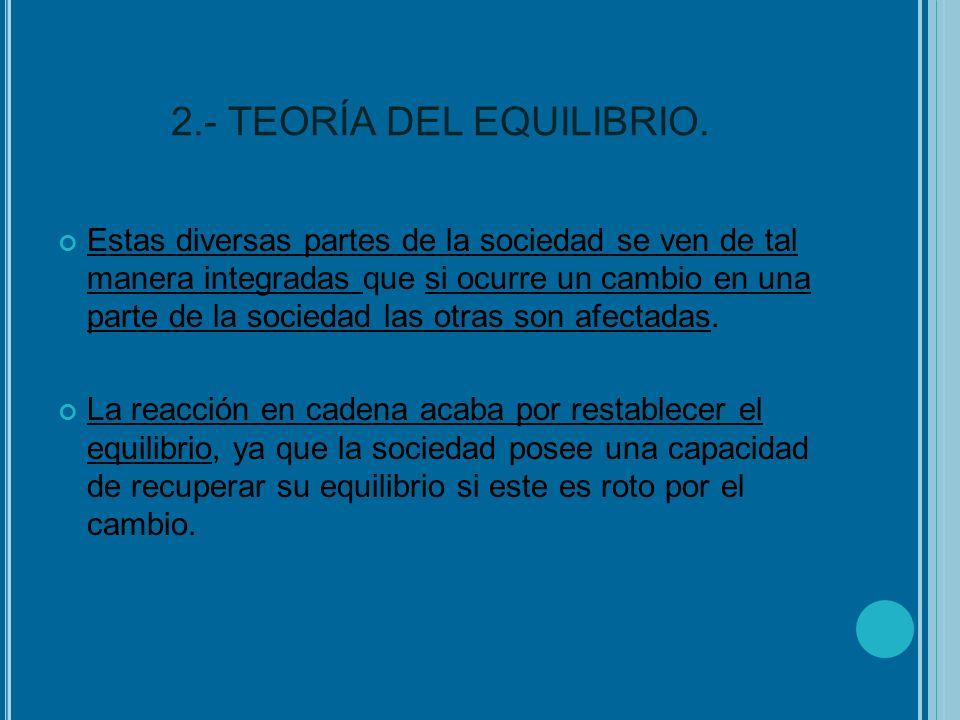 2.- TEORÍA DEL EQUILIBRIO. Estas diversas partes de la sociedad se ven de tal manera integradas que si ocurre un cambio en una parte de la sociedad la