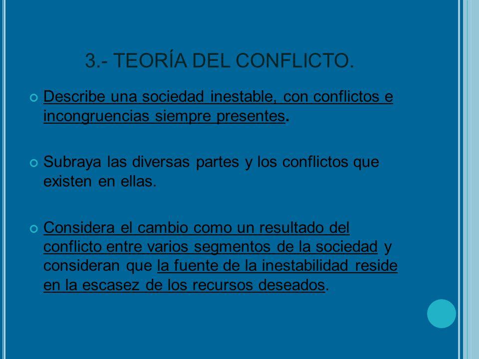 3.- TEORÍA DEL CONFLICTO. Describe una sociedad inestable, con conflictos e incongruencias siempre presentes. Subraya las diversas partes y los confli