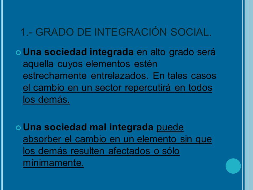 1.- GRADO DE INTEGRACIÓN SOCIAL. Una sociedad integrada en alto grado será aquella cuyos elementos estén estrechamente entrelazados. En tales casos el