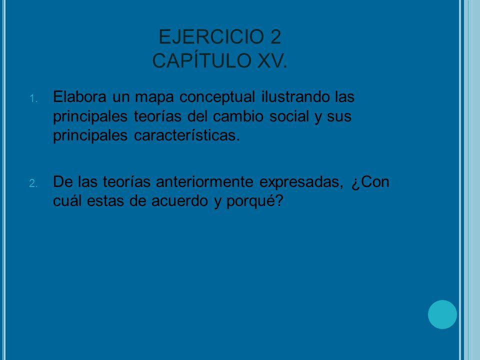 EJERCICIO 2 CAPÍTULO XV. 1. Elabora un mapa conceptual ilustrando las principales teorías del cambio social y sus principales características. 2. De l