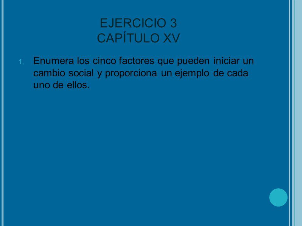 EJERCICIO 3 CAPÍTULO XV 1. Enumera los cinco factores que pueden iniciar un cambio social y proporciona un ejemplo de cada uno de ellos.