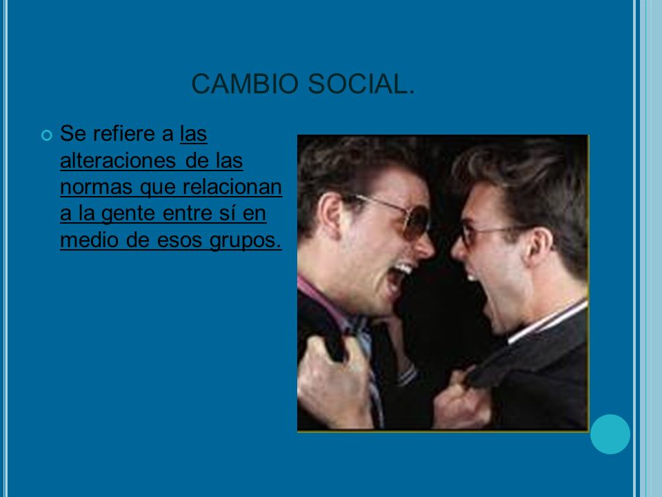 CAMBIO SOCIAL. Se refiere a las alteraciones de las normas que relacionan a la gente entre sí en medio de esos grupos.