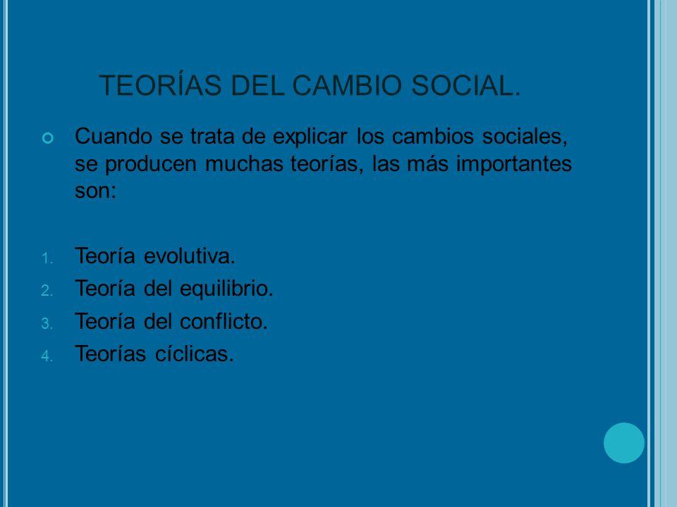 TEORÍAS DEL CAMBIO SOCIAL. Cuando se trata de explicar los cambios sociales, se producen muchas teorías, las más importantes son: 1. Teoría evolutiva.