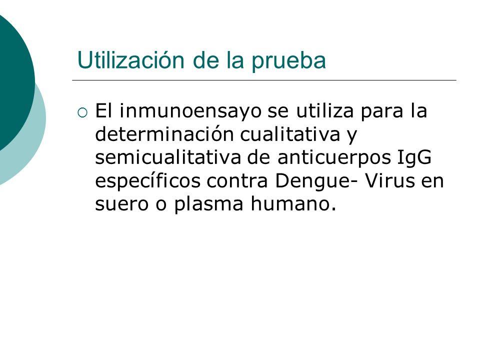 Utilización de la prueba El inmunoensayo se utiliza para la determinación cualitativa y semicualitativa de anticuerpos IgG específicos contra Dengue-