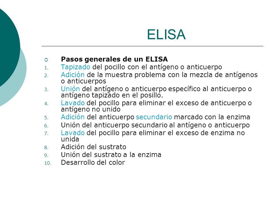 ELISA Pasos generales de un ELISA 1. Tapizado del pocillo con el antígeno o anticuerpo 2. Adición de la muestra problema con la mezcla de antígenos o