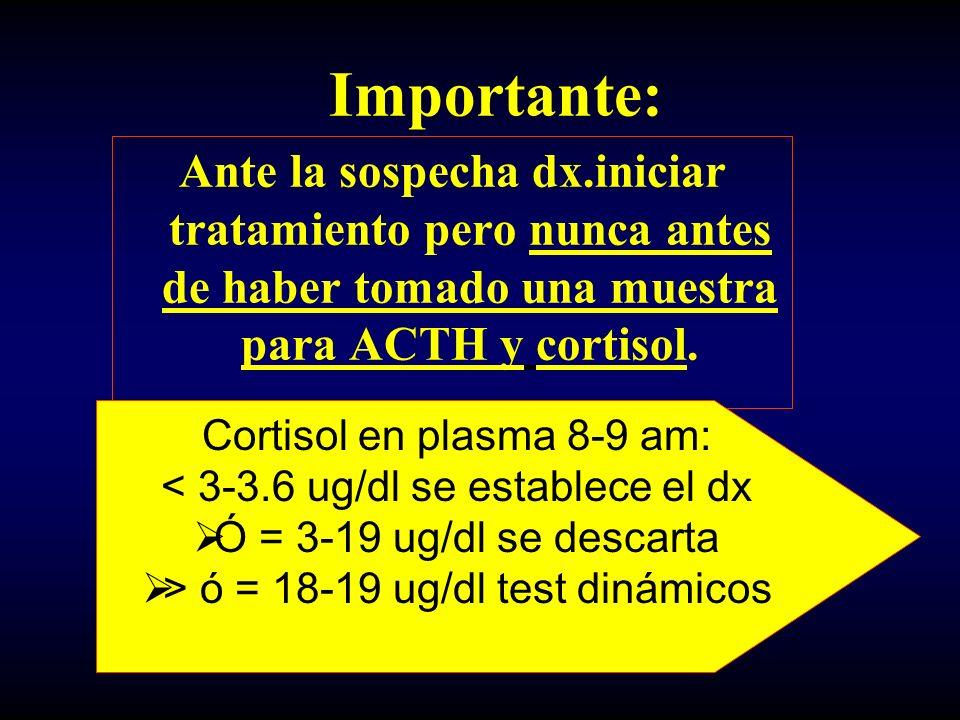 Importante: Ante la sospecha dx.iniciar tratamiento pero nunca antes de haber tomado una muestra para ACTH y cortisol. Cortisol en plasma 8-9 am: < 3-