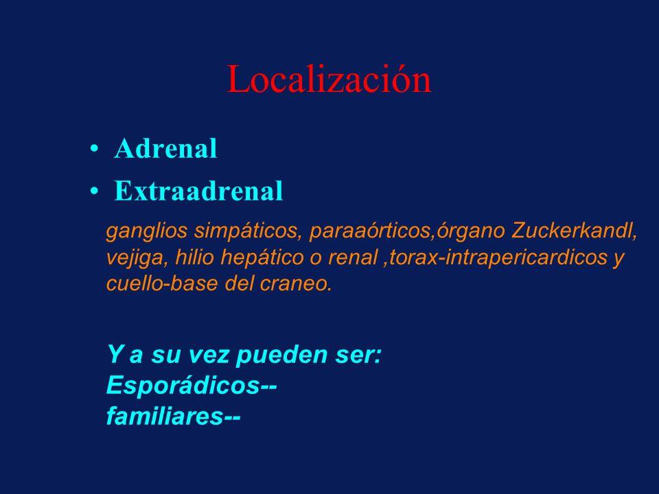 Localización Adrenal Extraadrenal ganglios simpáticos, paraaórticos,órgano Zuckerkandl, vejiga, hilio hepático o renal,torax-intrapericardicos y cuell