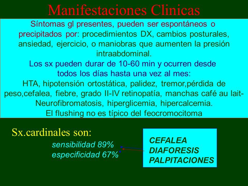 Manifestaciones Clinicas Sx.cardinales son: CEFALEA DIAFORESIS PALPITACIONES sensibilidad 89% especificidad 67% Síntomas gl presentes, pueden ser espo