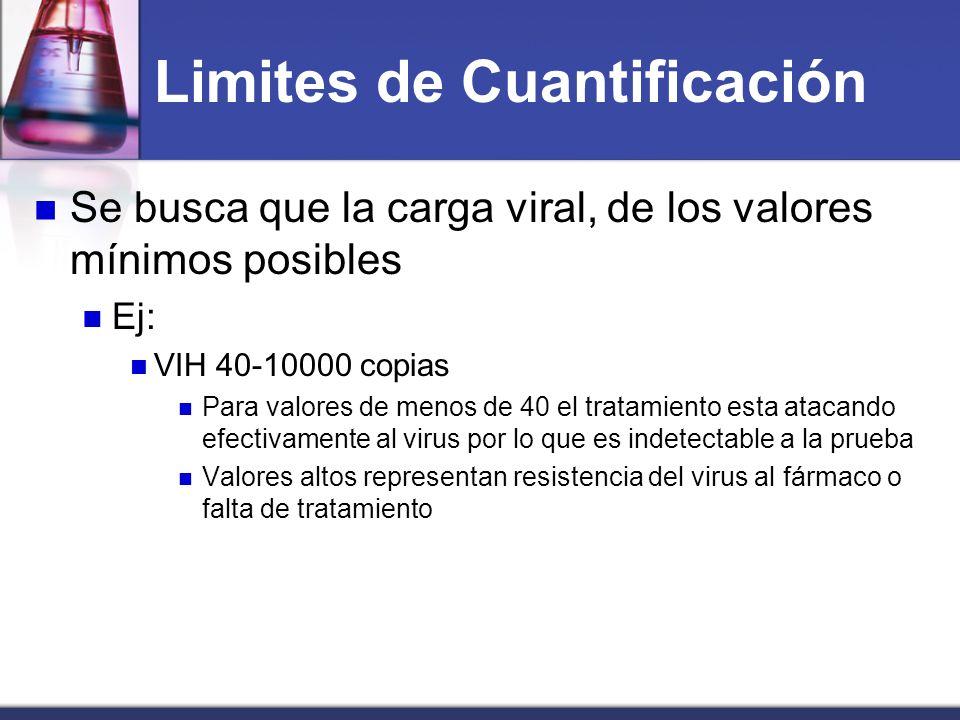 Limites de Cuantificación Se busca que la carga viral, de los valores mínimos posibles Ej: VIH 40-10000 copias Para valores de menos de 40 el tratamie