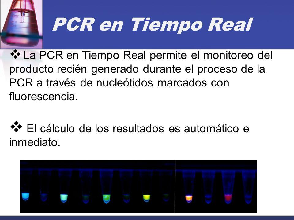 PCR en Tiempo Real La PCR en Tiempo Real permite el monitoreo del producto recién generado durante el proceso de la PCR a través de nucleótidos marcad
