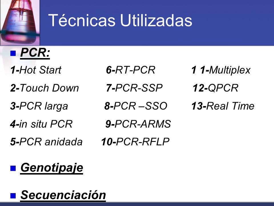 Técnicas Utilizadas PCR: 1-Hot Start 6-RT-PCR 1 1-Multiplex 2-Touch Down 7-PCR-SSP 12-QPCR 3-PCR larga 8-PCR –SSO 13-Real Time 4-in situ PCR 9-PCR-ARM