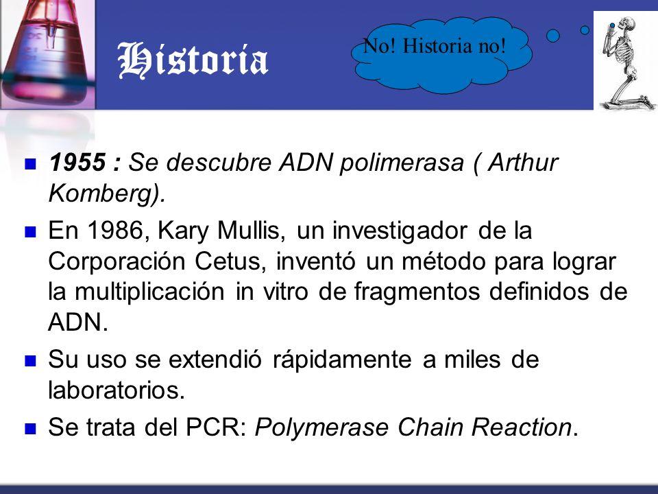 Historia 1955 : Se descubre ADN polimerasa ( Arthur Komberg). En 1986, Kary Mullis, un investigador de la Corporación Cetus, inventó un método para lo