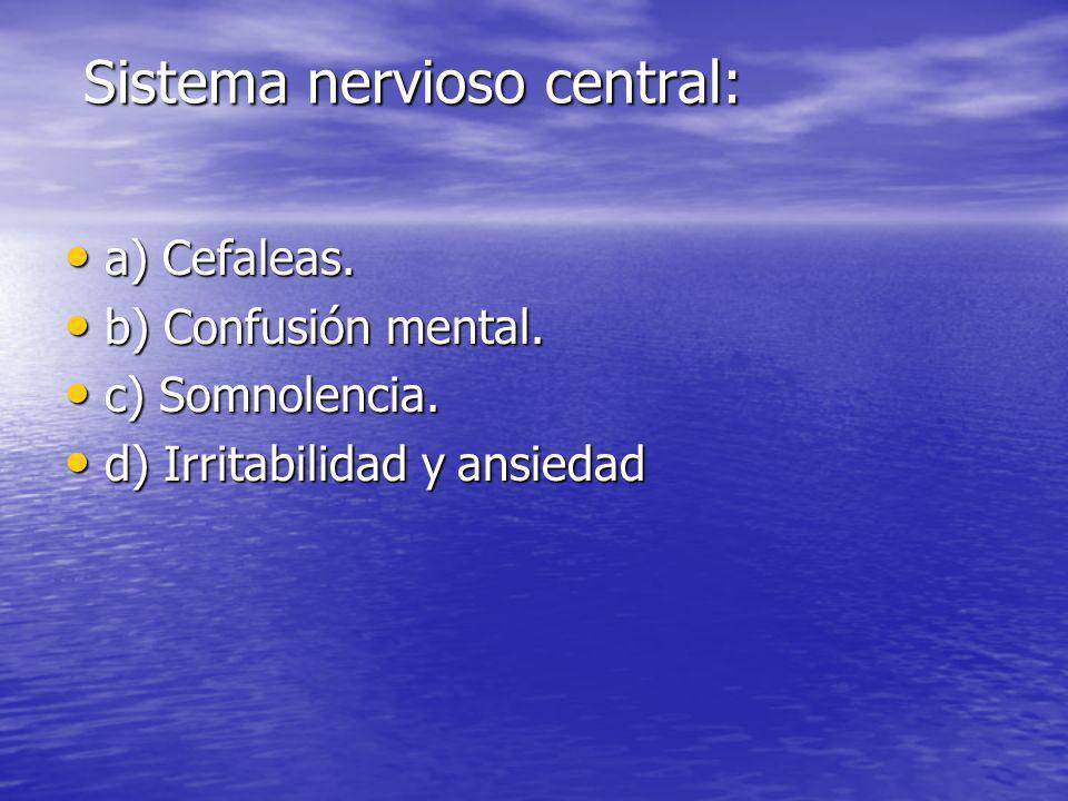 Sistema nervioso central: Sistema nervioso central: a) Cefaleas. a) Cefaleas. b) Confusión mental. b) Confusión mental. c) Somnolencia. c) Somnolencia