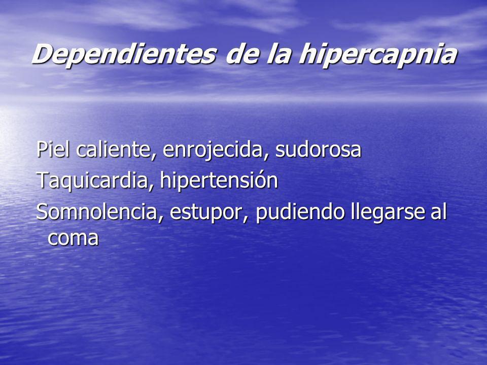 Dependientes de la hipercapnia Piel caliente, enrojecida, sudorosa Piel caliente, enrojecida, sudorosa Taquicardia, hipertensión Taquicardia, hiperten