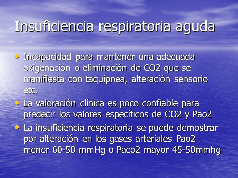 Insuficiencia respiratoria aguda Incapacidad para mantener una adecuada oxigenación o eliminación de CO2 que se manifiesta con taquipnea, alteración s