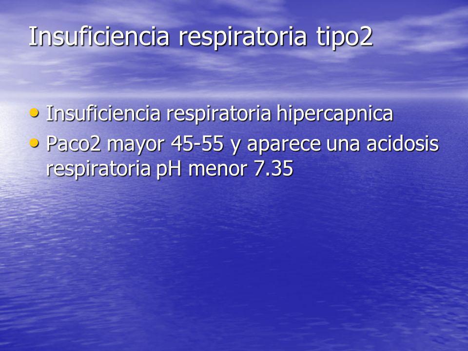 Insuficiencia respiratoria tipo2 Insuficiencia respiratoria hipercapnica Insuficiencia respiratoria hipercapnica Paco2 mayor 45-55 y aparece una acido