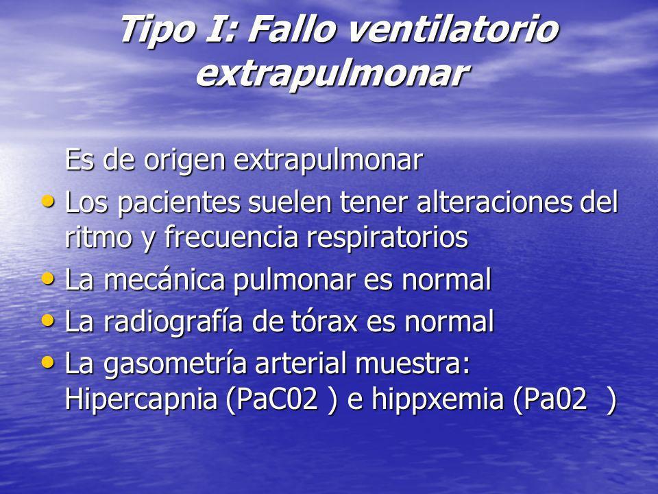 Tipo I: Fallo ventilatorio extrapulmonar Tipo I: Fallo ventilatorio extrapulmonar Es de origen extrapulmonar Es de origen extrapulmonar Los pacientes