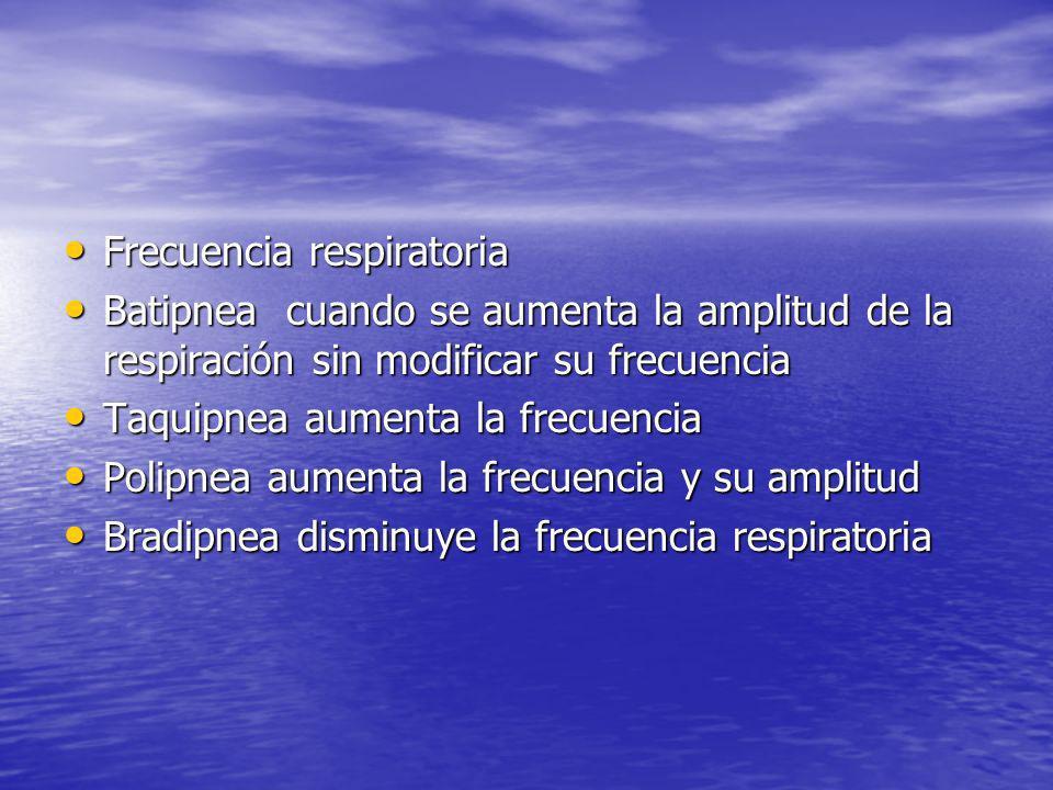 Frecuencia respiratoria Frecuencia respiratoria Batipnea cuando se aumenta la amplitud de la respiración sin modificar su frecuencia Batipnea cuando s