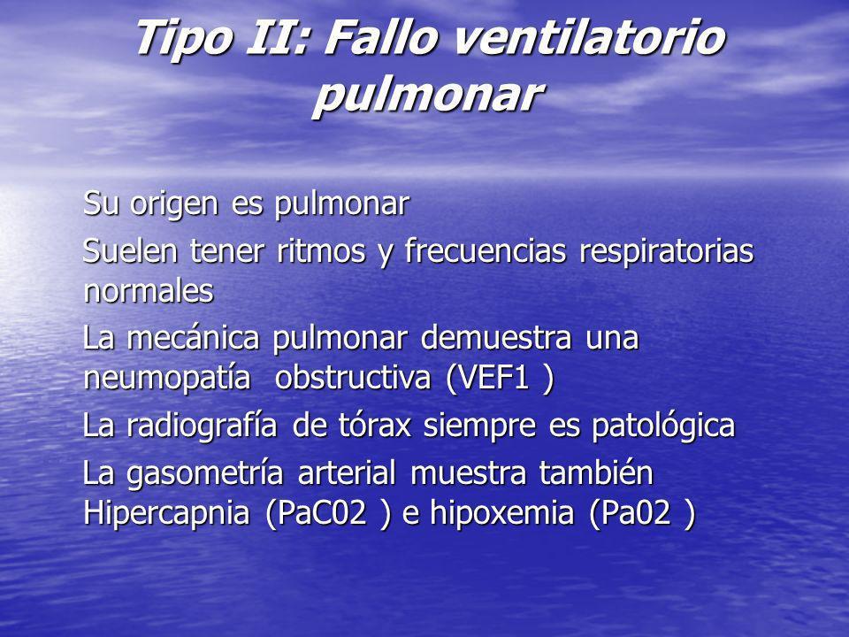 Tipo II: Fallo ventilatorio pulmonar Su origen es pulmonar Su origen es pulmonar Suelen tener ritmos y frecuencias respiratorias normales Suelen tener