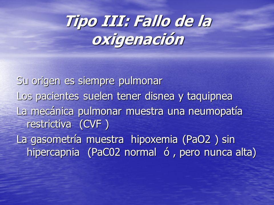 Tipo III: Fallo de la oxigenación Su origen es siempre pulmonar Los pacientes suelen tener disnea y taquipnea La mecánica pulmonar muestra una neumopa